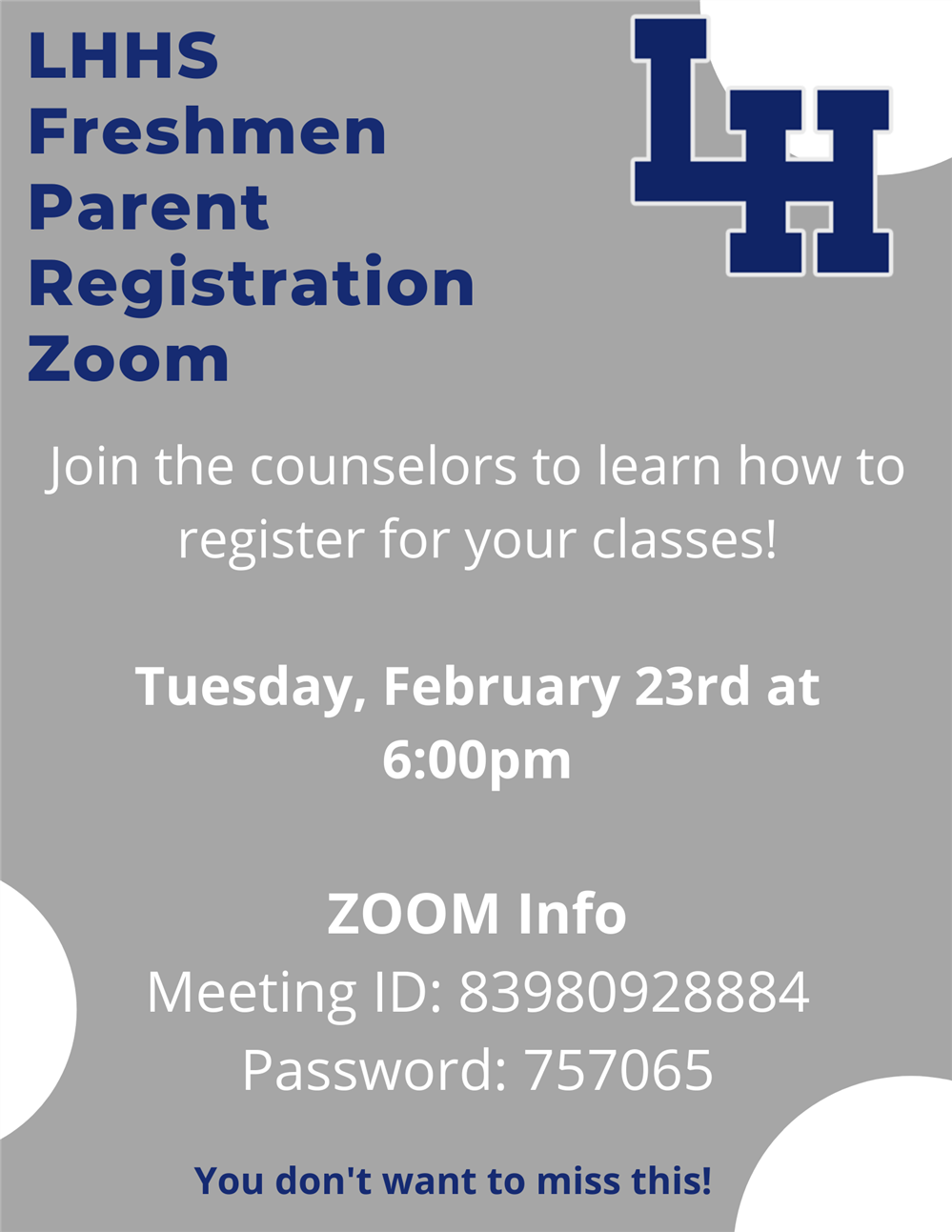 Incoming Freshmen Informational Zoom with LHHS Counselors