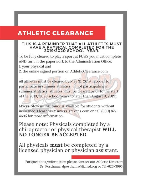 Athletic Clearance