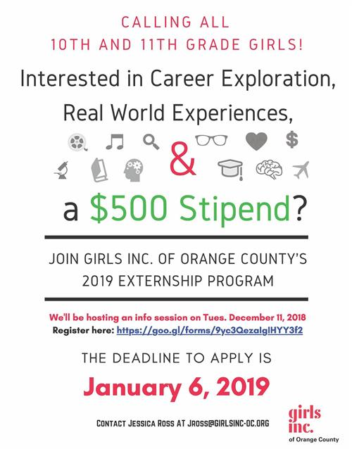 Girls Inc Internship opportunity for 10th and 11th graders